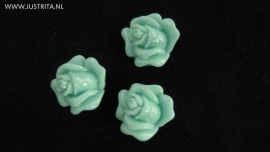 Resin cabochon roosje 14 mm zeegroen