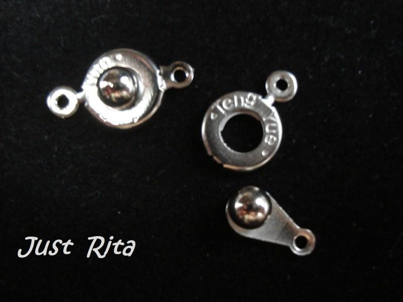 Drukknoop sluiting zilverkleur per 5 stuks