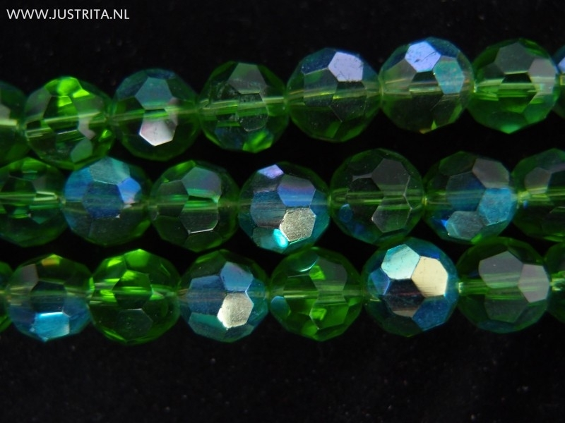 1 Streng ronde facet glas kristallen 10 mm. Groen
