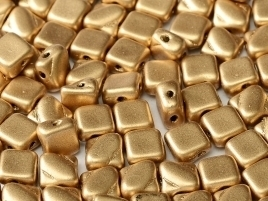 Silky Beads 2-hole 6 x 6 mm Aztec Gold (per 18)