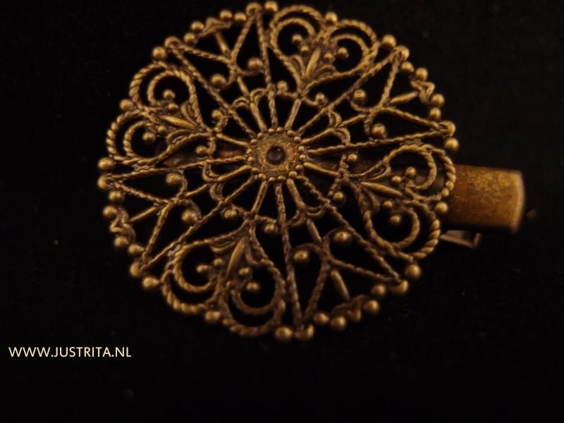 Haarspeldje met plakvlak 31mm antiek brons