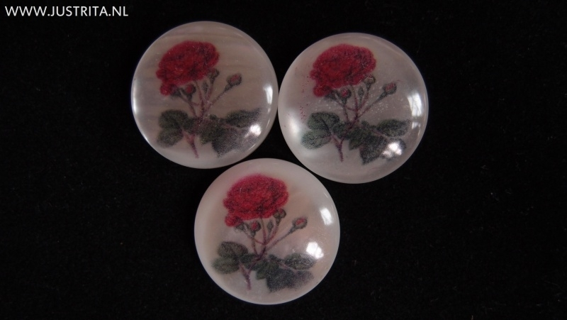 Resin cabochon rode roos 25mm