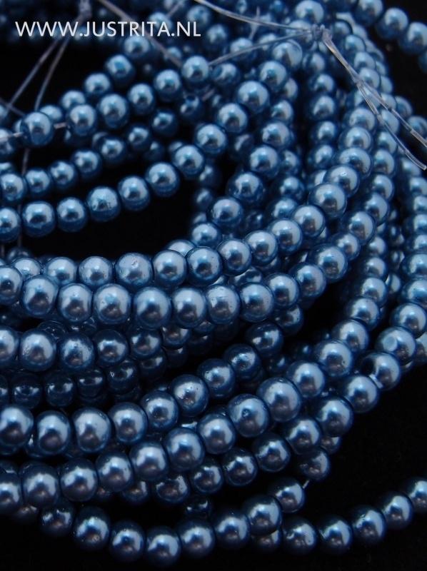 Glasparels 3 mm grijsblauw per streng