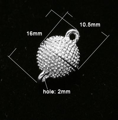 Magneetsluiting rond 16 x 10,5 mm zilverkleur