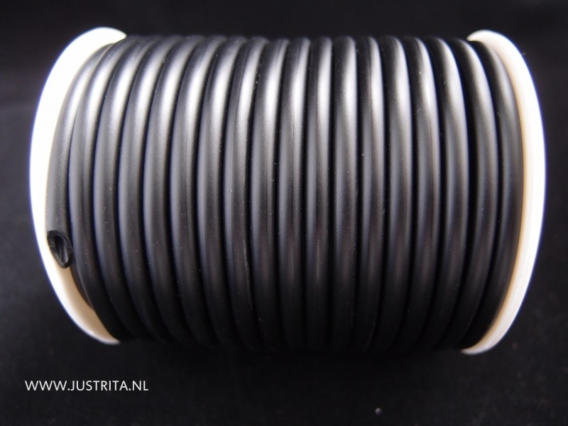 Rubber koord hol 4mm Zwart