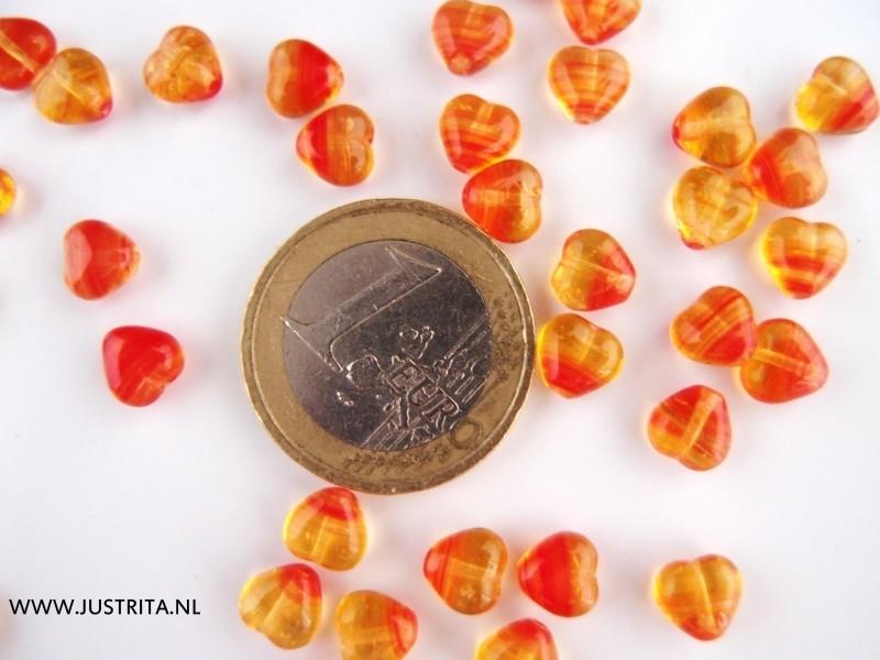 Cha01 rood/geel transparant hartje 6 x 6.5 x 3.5mm (60 stuks)