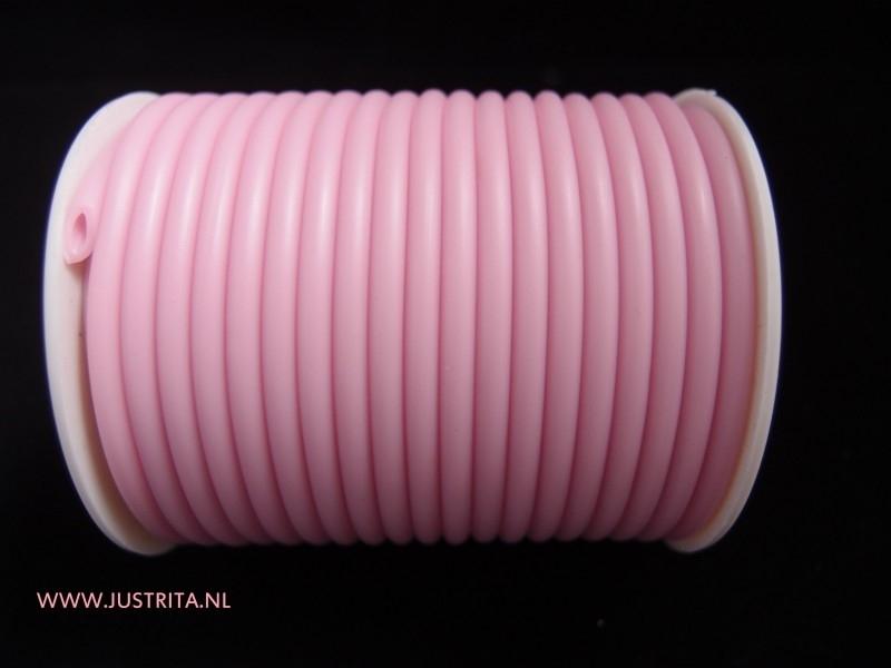 Rubber koord hol 4 mm Roze