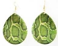 BJO008 Oorbellen slangenprint groen