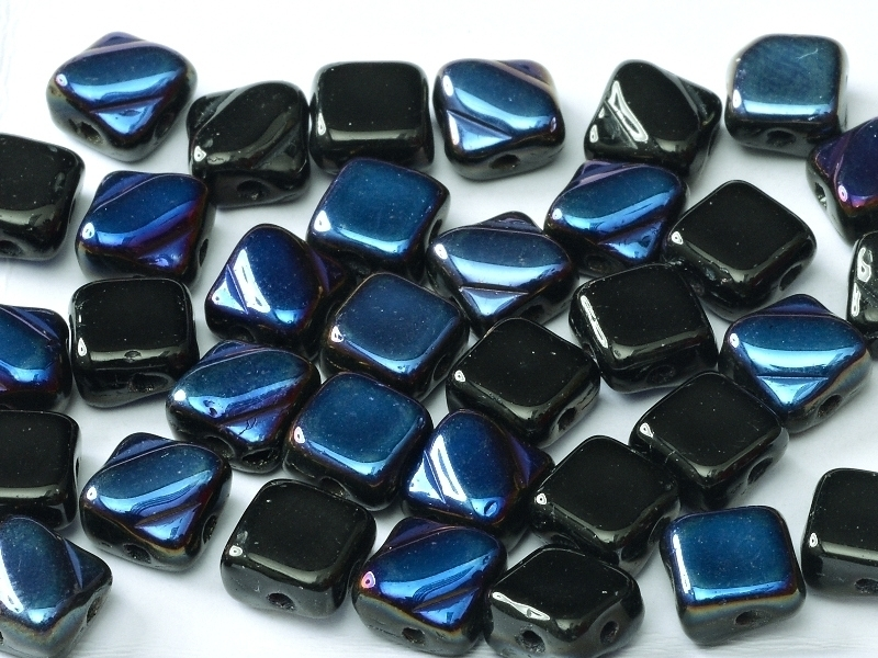 Silky Beads 2-Hole 6 x 6 mm Jet Azuro (per 16)