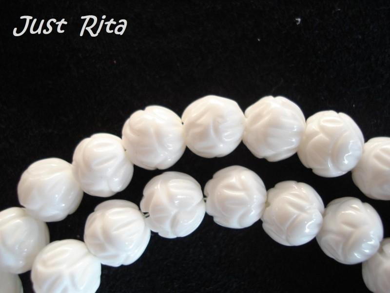 Wit koraal bloemetje 8mm