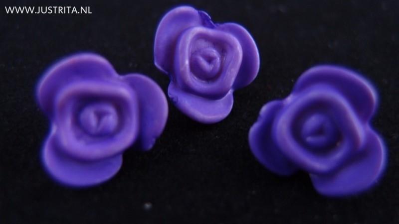 Resin roosje paars 14.5 mm (10 stuks)
