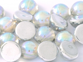 Dome Beads 12 x 7 Crystal Silver Rainbow (per 5)