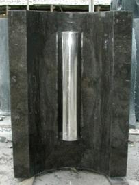 waterornament half ovaal marmer, zwart polish