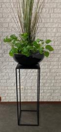 Zuil - sokkel - metalen plantentafels, kleur zwart, hoog 80 en 100 cm (set)