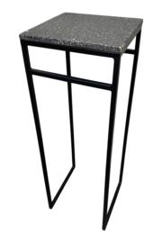 Plantentafel, sokkel, zuil metaal, met polyrazo top zwart-wit 80 cm