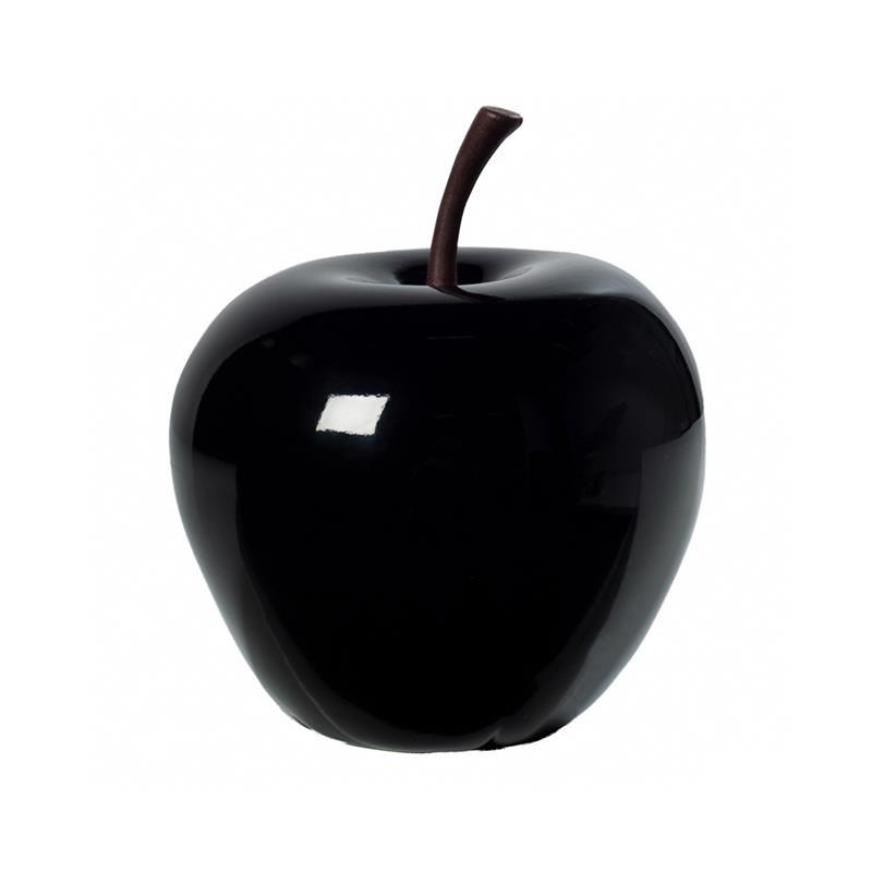 Appel hoogglans zwart 16 cm decoratief