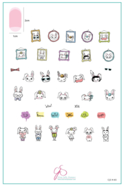 Clear Jelly Stamper - Big Stamping Plate - CJS_H65 -Hipster Bunnies