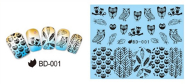 Waterdecals - Owls & Feathers