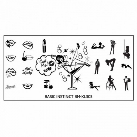 Bundle Monster - Naughty XL Nail Art Stamping Plates - Basic Instinct (BM-XL303): Someone's Getting Lucky