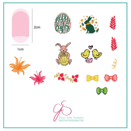 Clear Jelly Stamper - Stamping Plate - CJS_H10 Bitty Bunnies n Blooms