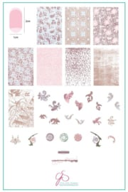 Clear Jelly Stamper - Big Stamping Plate - CJS_190 - Grunge Series - Dainty