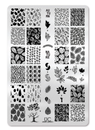 UberChic - Big Nail Stamping Plate - Lovely Leaves - 02
