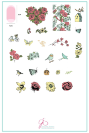 Clear Jelly Stamper - Big Stamping Plate - CJS_58 - Delicate Garden