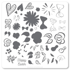 Clear Jelly Stamper - Medium Stamping Plate - CJS_H54 - Easter Egg Denty Decals
