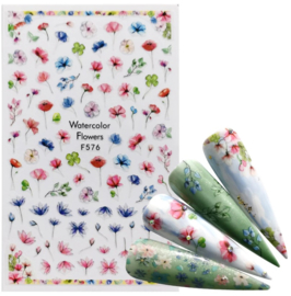 Nailways - Nail Stickers - F576 - Watercolor Flowers