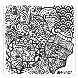 Bundle Monster - Hangloose Nail Art Manicure Stamping Plate - BM-S407, Tribal Waters