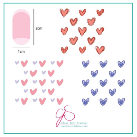 Clear Jelly Stamper - Stamping Plate - CJS_V02 - Super Cute Hearts
