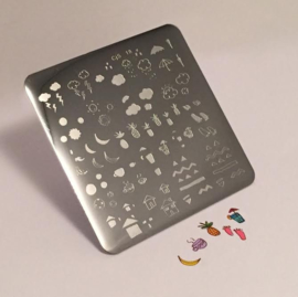 Clear Jelly Stamper - Stamping Plate - CJS_18 - MINI Summer Drinks & Fruits Doodle