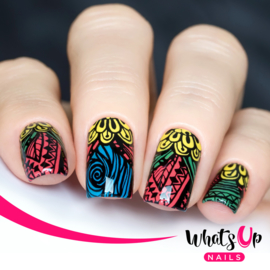 Whats Up Nails - Stamping Plate - A001 Majestic Flowers