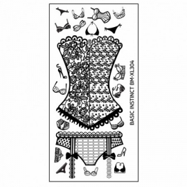 Bundle Monster - Naughty XL Nail Art Stamping Plates - Basic Instinct (BM-XL304): Sexy Lingerie