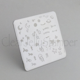 Clear Jelly Stamper - Stamping Plate - CJS_19 - Sea and Stars Doodle