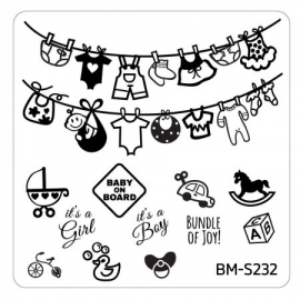 Bundle Monster - Baby Shower Nail Stamping Plate - Occasion Collection, Baby On Mani