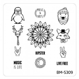 Bundle Monster - Festival Nail Art Manicure Stamping Plate - BM-S309, Spirit Animal