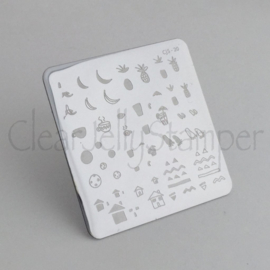 Clear Jelly Stamper - Stamping Plate - CJS_20 - Summer Drinks and Fruits
