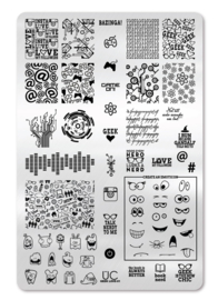 UberChic - Big Nail Stamping Plate - Geek Love-01