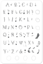 Clear Jelly Stamper - Big Stamping Plate - CJS_83 - Garden Letters