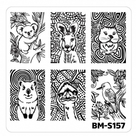 Bundle Monster - Nail Art Stamping Plates-Fuzzy and Ferocious - BM-S157, Cuties from Down Under