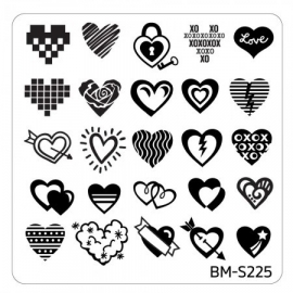 Bundle Monster - Valentine's Day Themed Nail Art Stamping Plates - Occasions Collection, BM-S225: All You Need is Hearts