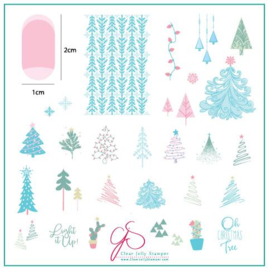 Clear Jelly Stamper - Medium Stamping Plate - CJS_C44 - Oh Christmas Tree!