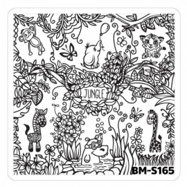 Bundle Monster - Nail Art Stamping Plates - Fuzzy and Ferocious: BM-S165, Jungle Animals