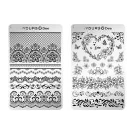 Yours Cosmetics - Stamping Plates - :YOURS Loves Dee - YLD11. Lovely Flowers (double sided)