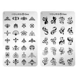 Yours Cosmetics - Stamping Plates - :YOURS Loves Dee - YLD014. The Ornaments (double sided)