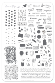 Clear Jelly Stamper - Big Stamping Plate - CJS_43 - Back To School - Primary