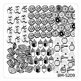 Bundle Monster - Fall Themed Square Nail Art Stamping Plate - BM-S209, Sweet and Nutty