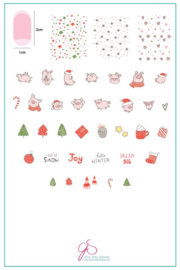 Clear Jelly Stamper - Big Stamping Plate - CJS_C50 - Piggy Christmas