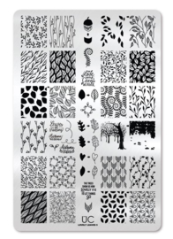 UberChic - Big Nail Stamping Plate - Lovely Leaves - 05